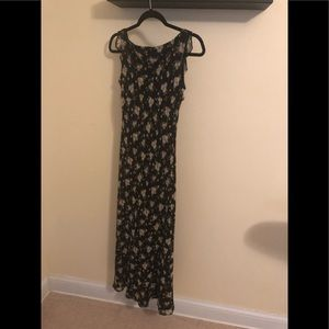 Black silk dress with tan flowers